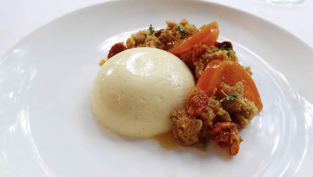 Yoghurt Bavarois with mandarin cake, thyme and saffron