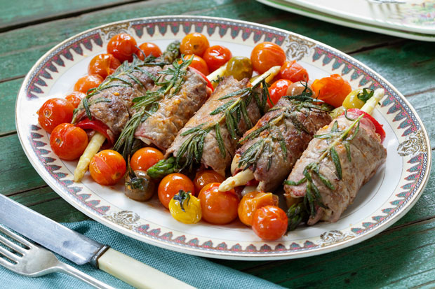 Asparagus and beef involtini