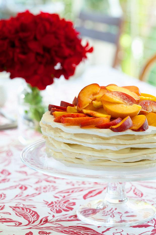Peach meringue stack