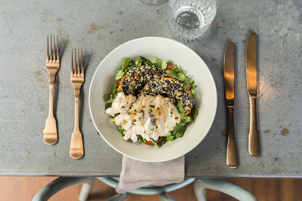 Sesame crusted pumpkin, chicken and parsley chopped salad