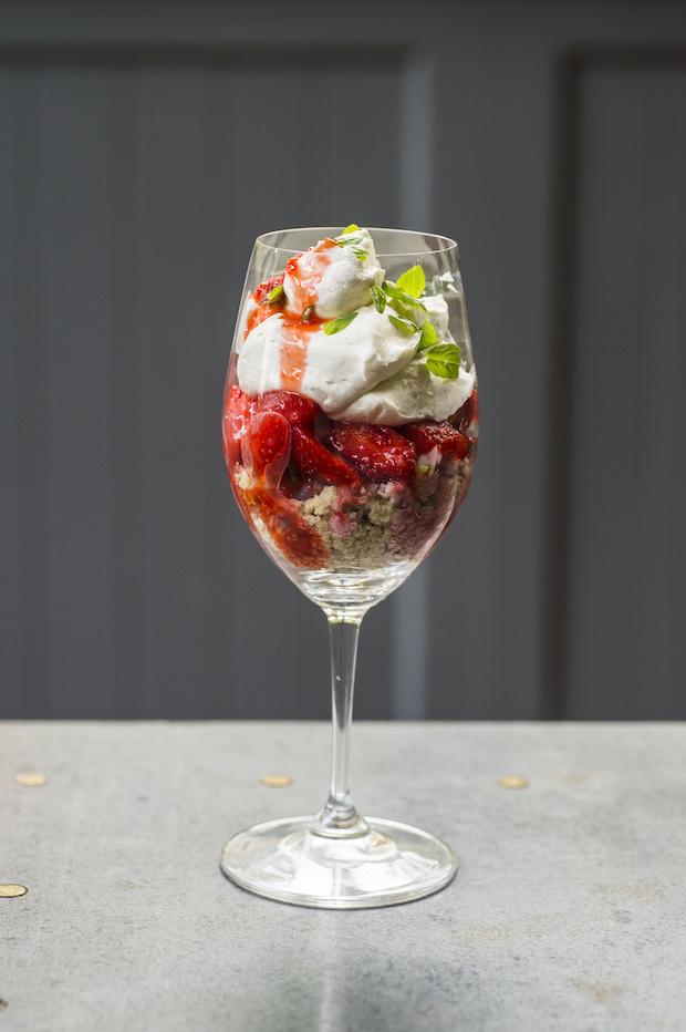 Sweet basil and strawberry shortcake mess