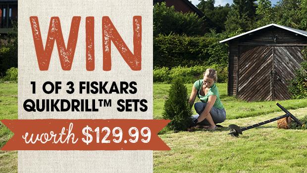 WIN a 1 of 3 Fiskars QuikDrill™ Sets worth $129