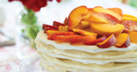 Peach meringue stack with peach syrup