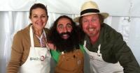 New ABC TV host Costa Georgiadis with Organic Gardener's Julie Ray & Phil Dudman