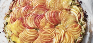 Peach and pistachio galette