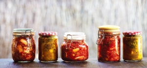 Jars of kimchi, pickles and chutney