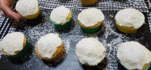 Choko muffins with lime, lemon and coconut icing