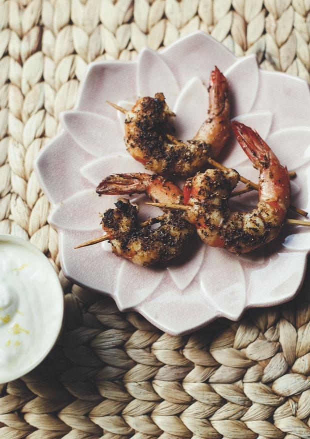 Spice crusted prawns