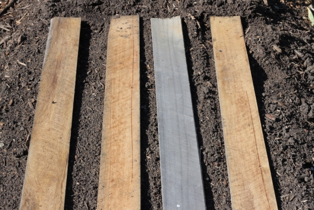 Boards on garden beds