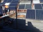 Installing solar panels.